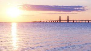 Long bridge with sunrise